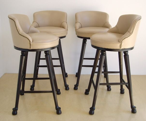 Four Wood And Upholstered Swivel Bar Stools At 1stdibs