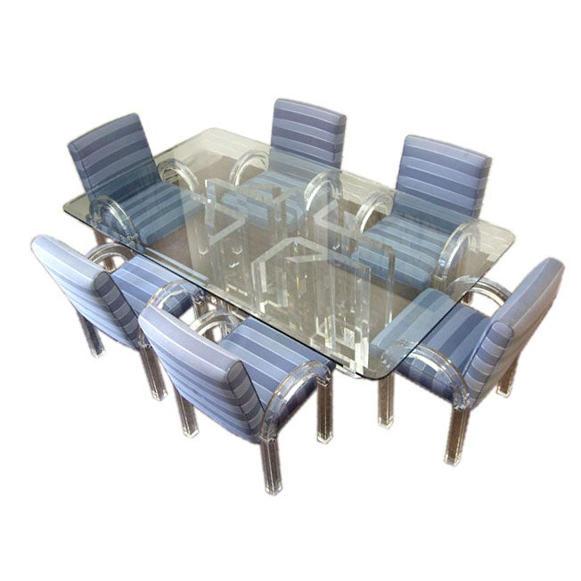 Glass And Lucite Dining Table With Six Lucite Upholstered