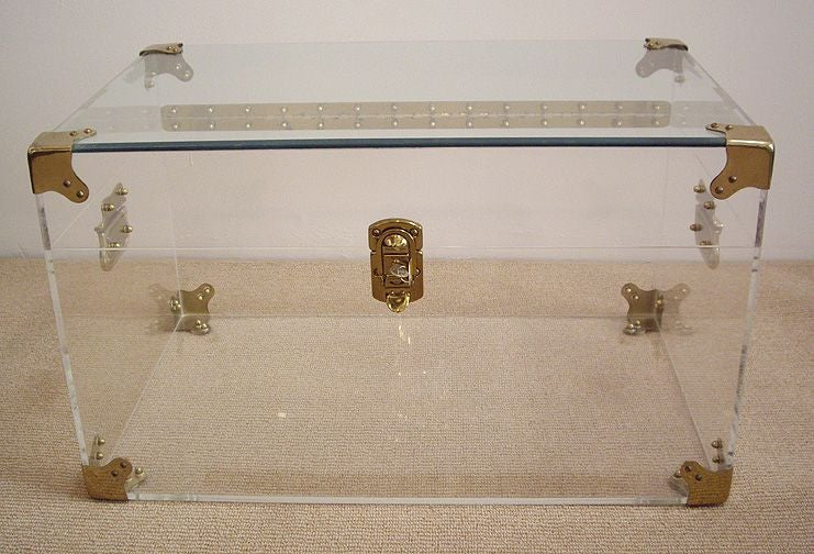 Lucite and Brass Trunk/Coffee Table with Glass Top at 1stdibs