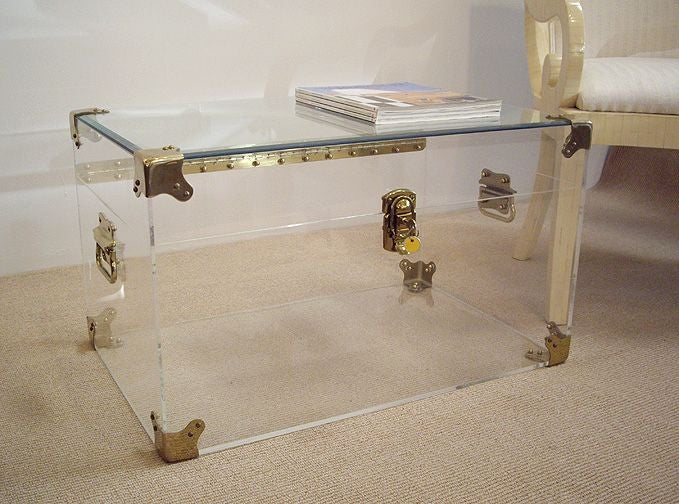 lucite and brass trunk coffee table with glass top at 1stdibs