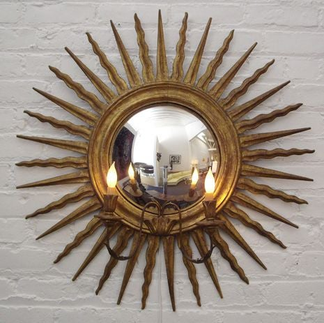 Gilt Italian Wall Mirror and Sconce For Sale