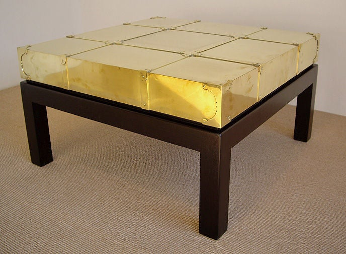 1970s Wood Furniture ~ S brass and wood coffee table at stdibs