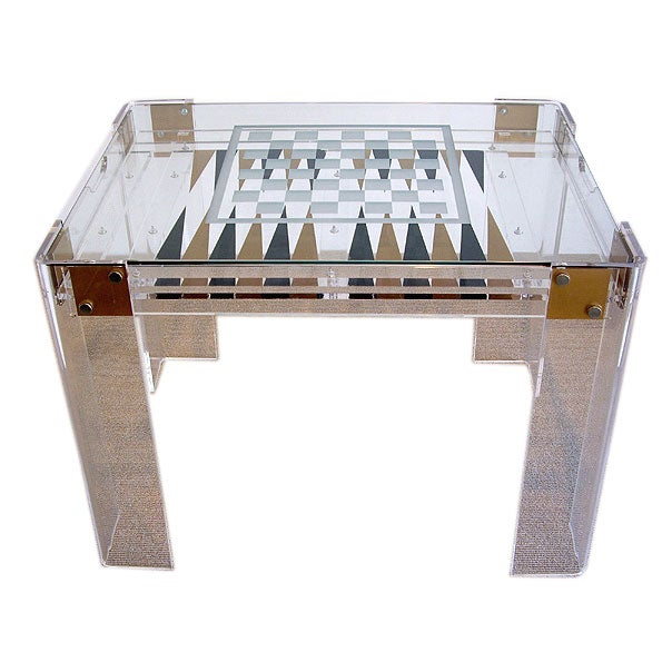 Clear Glass And Lucite Game Table   Chess, Backgammon 1