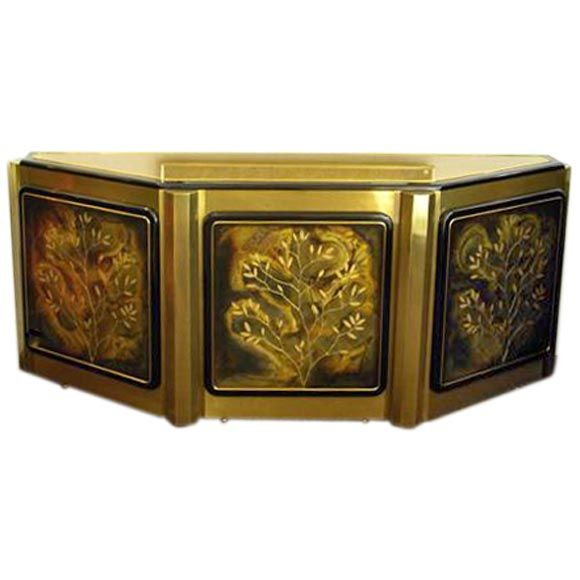 Decorated Brass Cabinet By Mastercraft Furniture Company