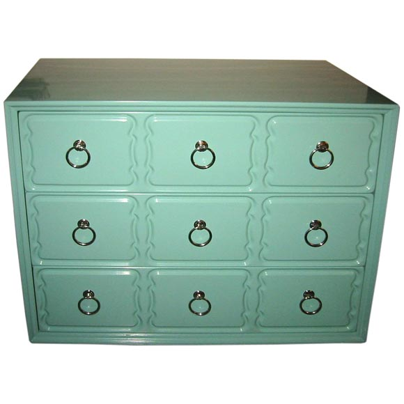 dorothy draper chest in tiffany box blue lacquer at 1stdibs. Black Bedroom Furniture Sets. Home Design Ideas