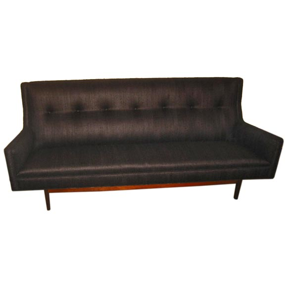 Jens Risom Sofa Upholstered In Charcoal Raw Silk At 1stdibs