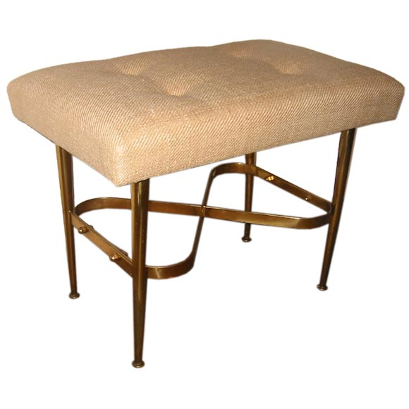 Small Italian Upholstered Brass Bench With Infinity Stretcher At 1stdibs