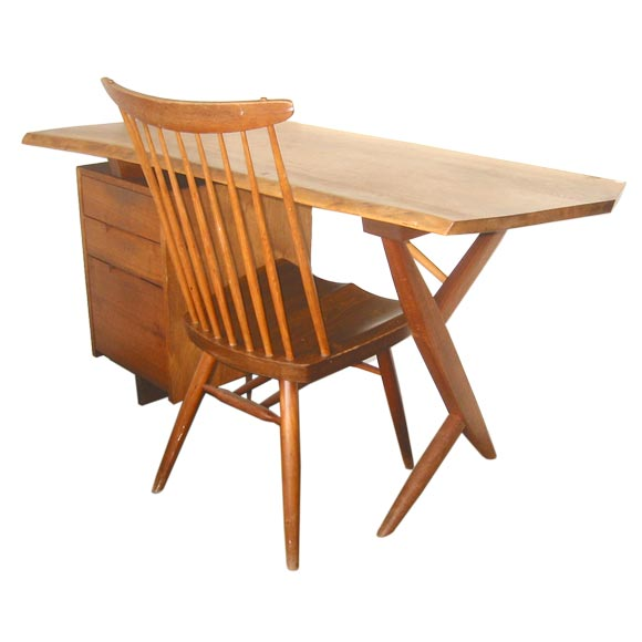 """Nakashima """"Conoid"""" Desk with """"New"""" Chair"""