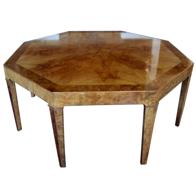 Baker Furniture Paris Coffee Table: Octagonal Burl Table By Baker At 1stdibs