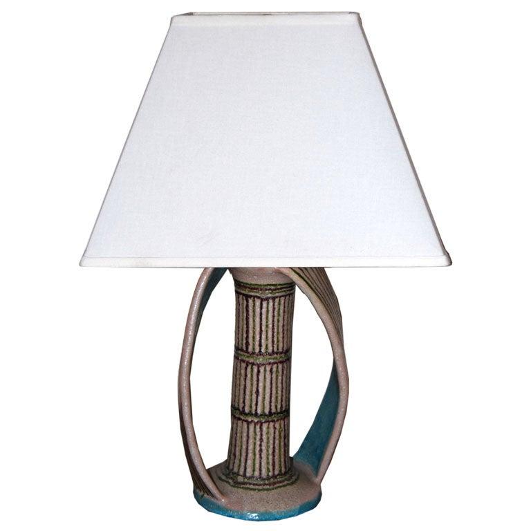 Unusual Guido Gambone Lamp At 1stdibs