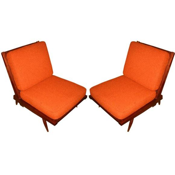 Pair of George Nakashima Spindle Back Armless Lounge Chairs