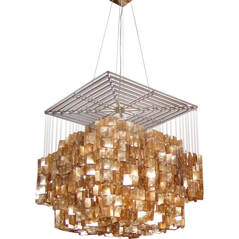 Contemporary Gold Capiz Shell Chandelier At 1stdibs