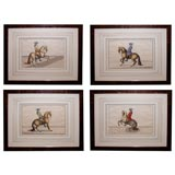 Set of Four German Hand-Colored Copper Engravings