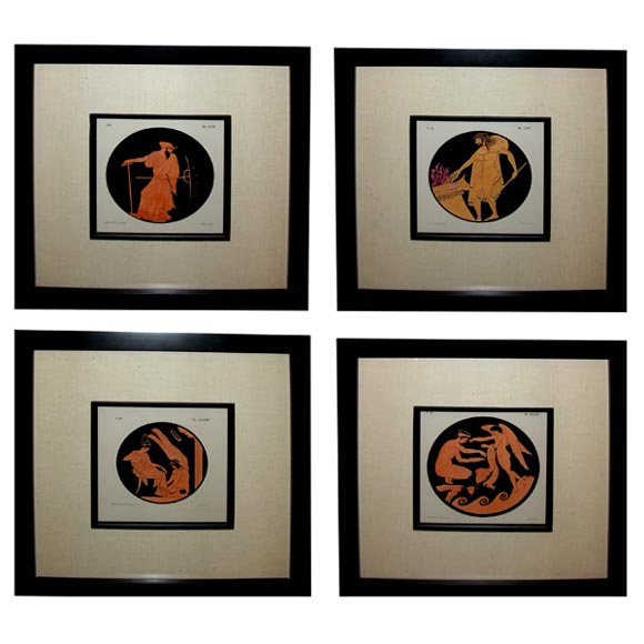 Handsome Set of Four English Chromo Lithographs of Classical Figures For Sale