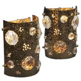 A Pair of French 1960's Half-Round Hand-Hammered Wall Lights