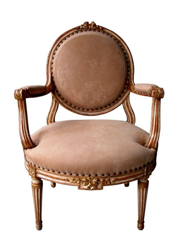 A Large-Scaled French Louis XVI Style Ivory Painted and Parcel Gilt Oval Back Open Armchair 2