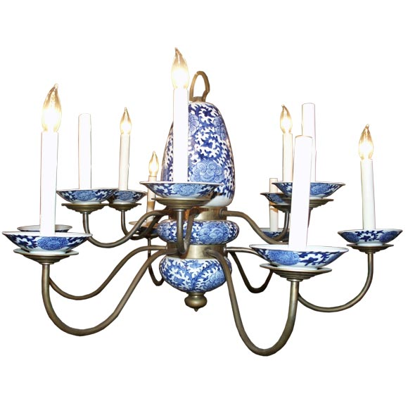 Blue And White Chinese Porcelain Chandelier At 1stdibs
