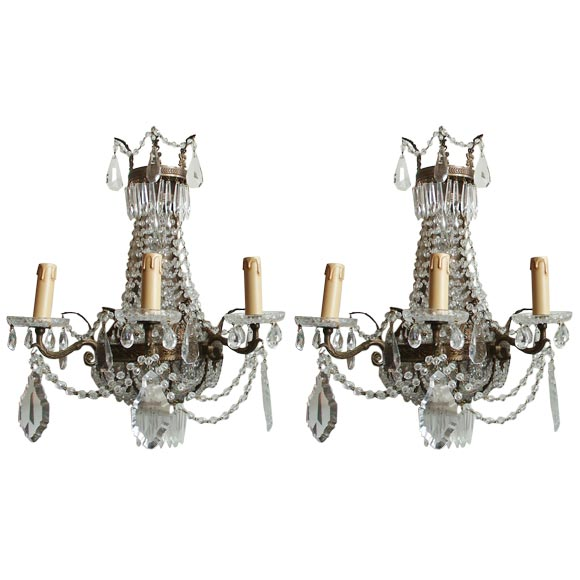Mirror Backed Beaded Wall Sconces At 1stdibs