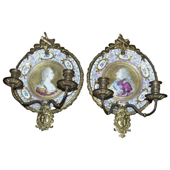 Pair of Antique Bronze Mounted Porcelain Wall Sconces at 1stdibs