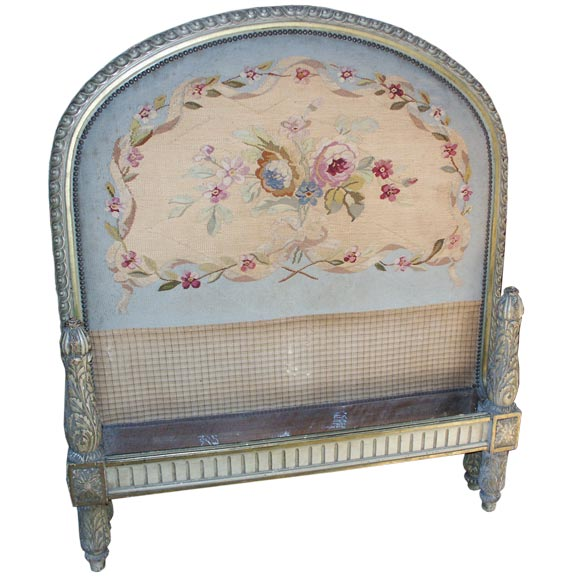 Painted French Twin Bed With Tapestry At 1stdibs