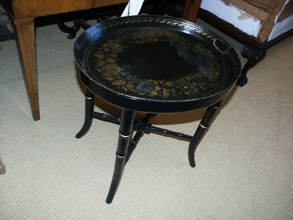 Early 19th C tole tray on later custom base