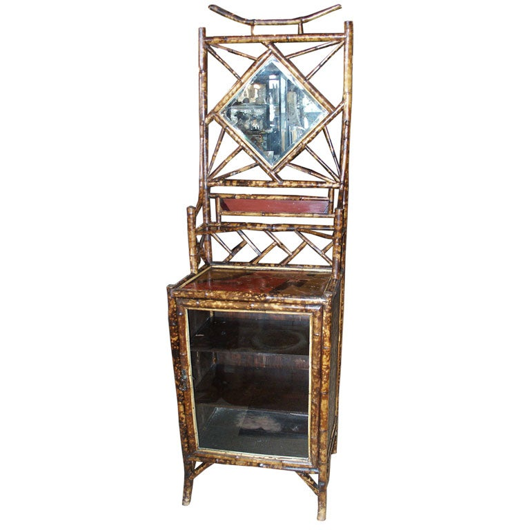 19th c bamboo etagere with glass front at 1stdibs - Etagere cases carrees ...