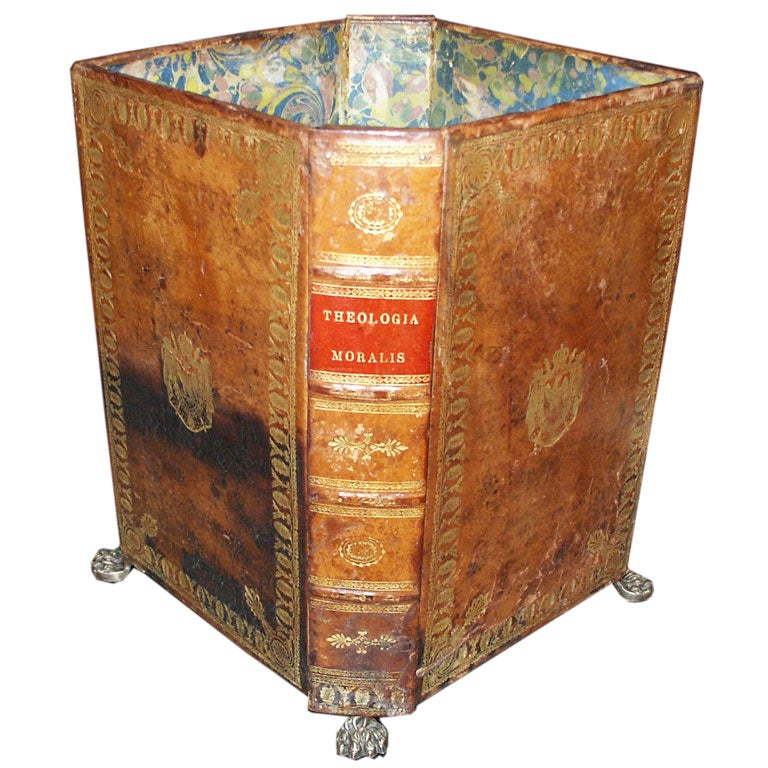 Leather Fuax Book Waste Basket At 1stdibs