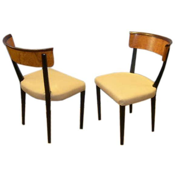Set of 6 swedish art moderne klismos style dining chairs for Swedish style dining chairs