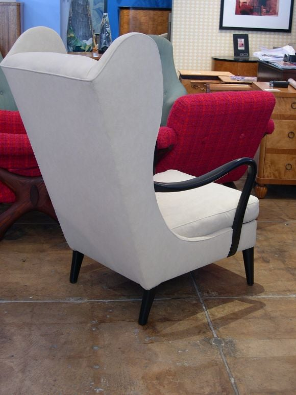 Mid-20th Century Swedish Modernist Wing Back Chair in Ebonized Elm ca. 1950 For Sale