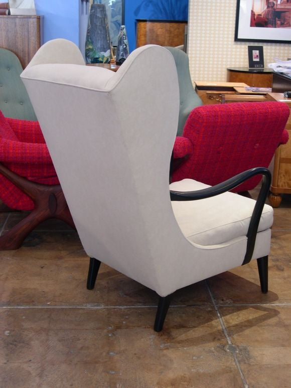 Swedish Modernist Wing Back Chair in Ebonized Elm ca. 1950 For Sale 1