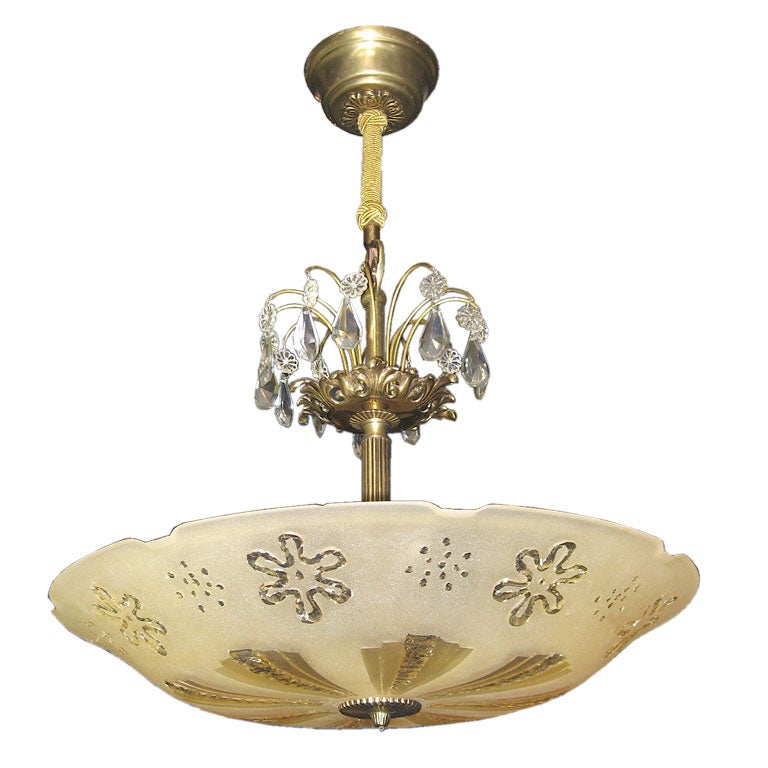 Swedish etched glass hanging light fixture at 1stdibs for Swedish light fixtures