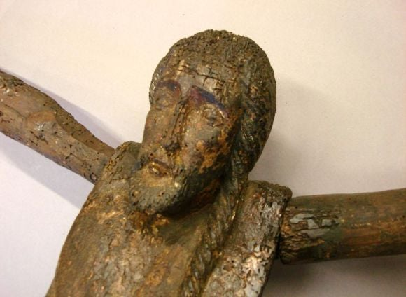 18th century primitive cipres wood Cristo/Jesus on cross. Carved details throughout.