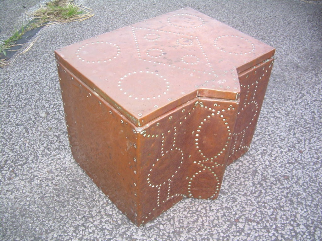 Decorative Kindling Box : English arts and crafts decorative studded copper box for