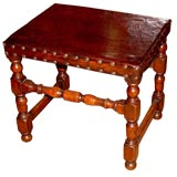 English 18th c. Turned Hide Covered Low Table