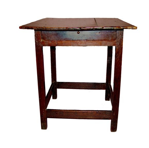 Unusual 18th c welsh square top stretcher base table at for Th 37px60b table top stand