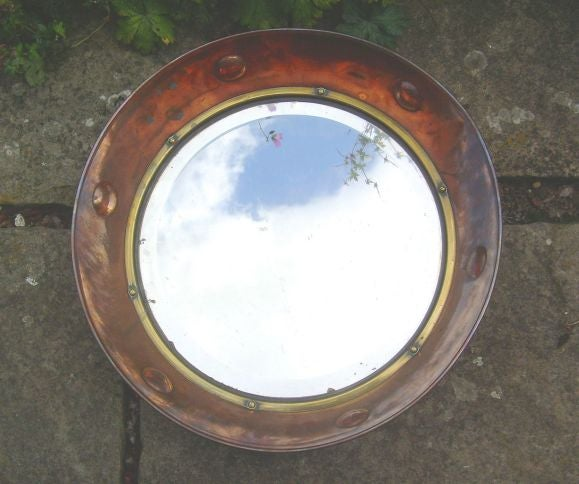 English Arts And Crafts Copper Dish Mirror At 1stdibs
