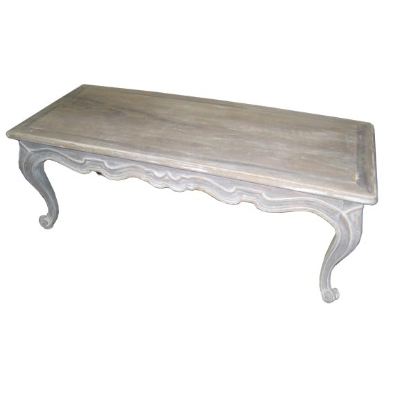 Whimsical White Washed Coffee Table For Sale