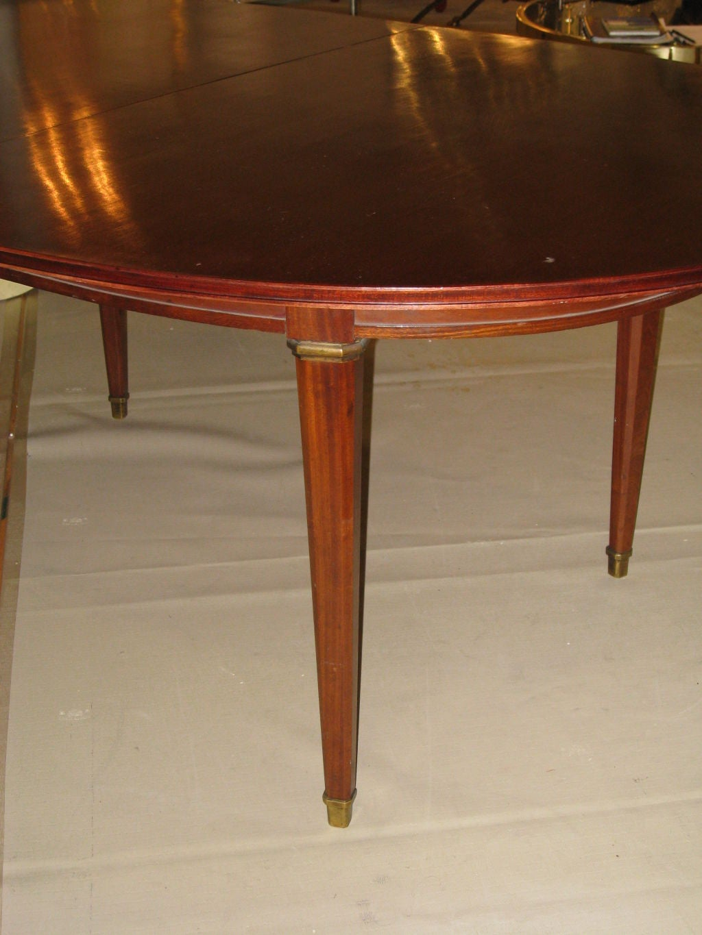 Mahogany dining room table with extra leaf signed jansen for 3 leaf dining room tables