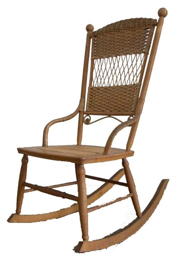 Wicker Rocking Chair For Sale at 1stdibs