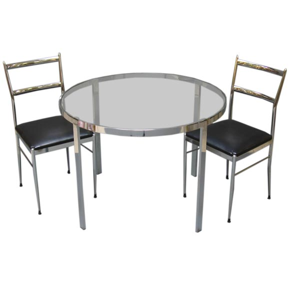 chrome dinette set with two chairs at 1stdibs