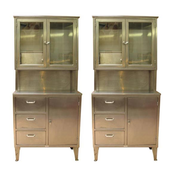 Quot Hoosier Quot Style Stainless Steel Medical Cabinets At 1stdibs