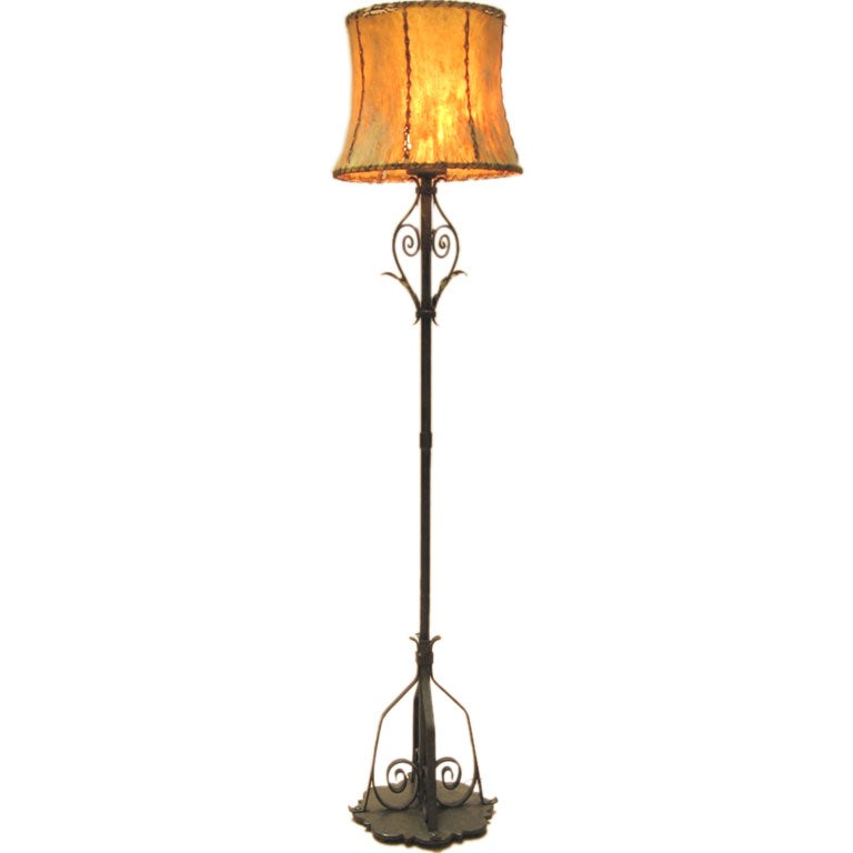 superb hand wrought iron floor lamp at 1stdibs. Black Bedroom Furniture Sets. Home Design Ideas