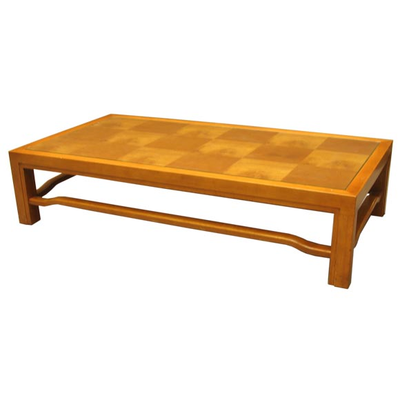 Low myrtle wood parquet coffee table at 1stdibs for Low coffee table wood