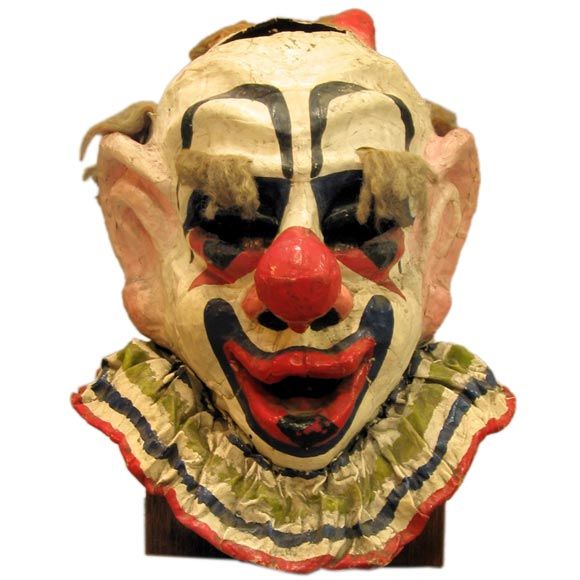 Old clown paper mache mask at 1stdibs for Paper mache objects