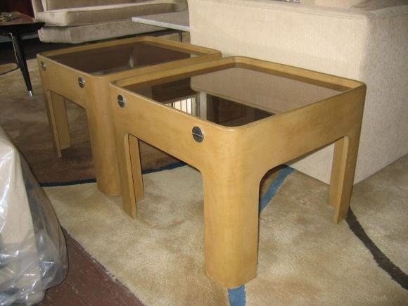 Rare Pierre Cardin end tables in suede-textured composite board with chrome side-bolts and smoked glass top.