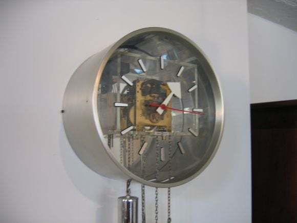 Chrome and lucite grandfather wall clock at 1stdibs - Wall mounted grandfather clock ...