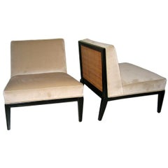 Exceptional Pair of Cane-Backed Slipper Chairs