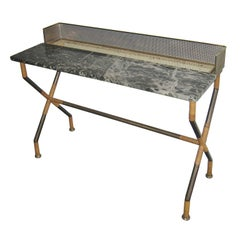 Italian Brass, Cane, and Marble Console/Bar