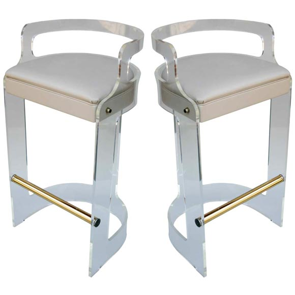 pair lucite barstools at 1stdibs