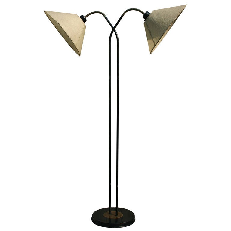 Double gooseneck floor lamp at 1stdibs for Double floor lamp reading